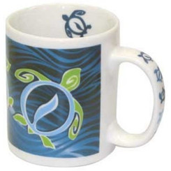 Hawaii Coffee Mugs 4 Pack Turtle Wave