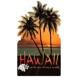 Hawaii Magnet Flat Plastic Palm Sunset