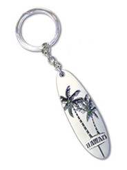Hawaiian Spinner Key Chain Tandem Palm Pewter