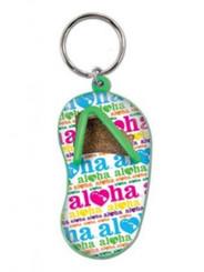 Hawaiian Key Chain Sand Slipper Heart Techno White