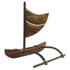 "Hawaiian Wood Canoe Multi Wood Outrigger With Sail 8"" W x 10"" L x 7"" H"