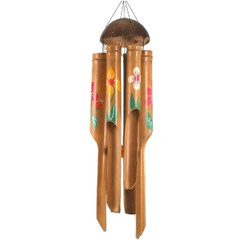 "Hawaiian Style Wind Chime Carved Bamboo 16"" With Flowers"