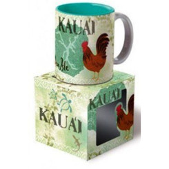 Hawaii Kauai Coffee Mugs Vintage Montage 4 Pack
