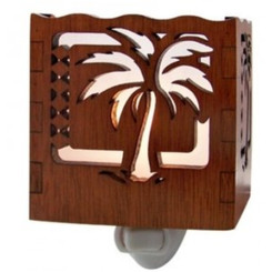 Hawaiian Scalloped Wood Night Light Palm Tree With Tribal Print
