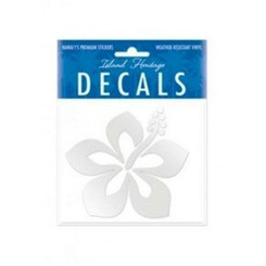 Hawaii Decal Graphic Hibiscus Silver 4 In. X 3.4 In.