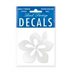 """Hawaii Decal Graphic Hibiscus Silver Square 2.9"""""""
