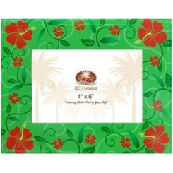 Hawaiian Christmas Glass Photo Frame Holiday Floral 4 X 6 In.