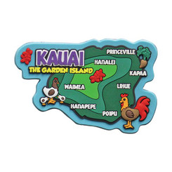 "Hawaii Rubber Magnet Kauai Map 3""W x 2""H x ""D"