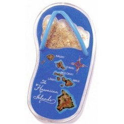 Hawaii Sand Slipper Magnet Map Blue