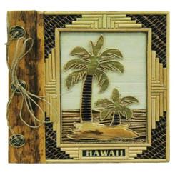 "Hawaii Photo Album Bamboo & 2 Palms 12"" x 14"""