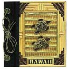 "Hawaii Photo Album Bamboo & 2 Turtles 12"" x 14"""