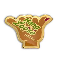 Hawaii Lapel Or Hat Pin Hang Loose Shaka Brown, Gold