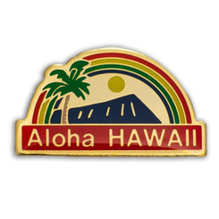 Hawaii Lapel Or Hat Pin Aloha Rainbow Red, Blue