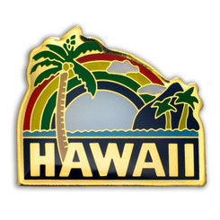 Hawaii Lapel Or Hat Pin Palm Tree Green, Yellow