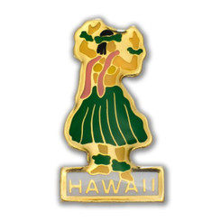 Hawaii Lapel Or Hat Pin Hula Yellow, Green