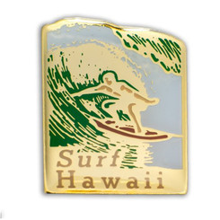 Hawaii Lapel Or Hat Pin Surf Gold, Green