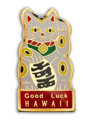 Hawaii Lapel Or Hat Pin Good Luck Cat Red, White
