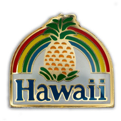 Hawaii Lapel Or Hat Pin Pineapple Rainbow Red, Blue