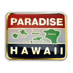 Hawaii Lapel Or Hat Pin Paradise Map Red, Black