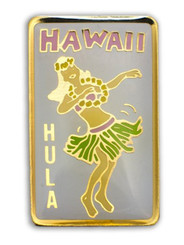 Hawaii Lapel Or Hat Pin Hula Girl White, Gold
