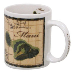Hawaiian Coffee Mugs 4 Pack Maui Map