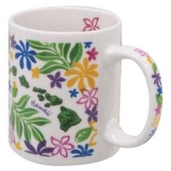 Hawaiian Coffee Mugs 2 Pack Island Chain Floral