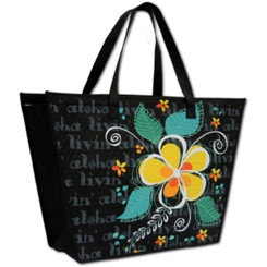 Tote Bag Insulated Eco Tropical Plumeria Swirl