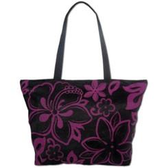 Mesh Beach Tote Bag Hibiscus Plumeria Black, Purple