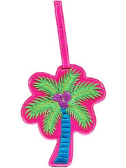 Luggage Tag Vinyl Palm Tree Pink, Green, Blue