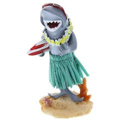 Hawaiian Miniature Dashboard Doll Shark With Surfboard