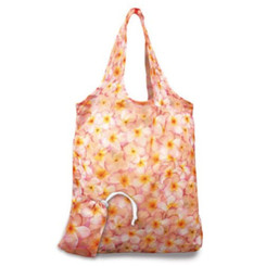 Foldable Tote Shopping Bag Plumerias Pink, Yellow