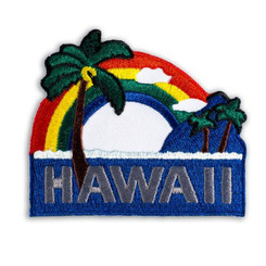 Hawaiian Iron-On Embroidery Applique Patch Palm Tree Red, Blue