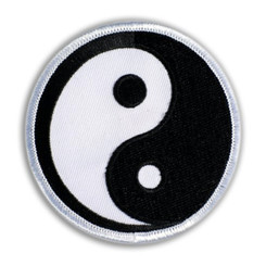 Hawaiian Iron-On Embroidery Applique Patch Yin Yang Black, White