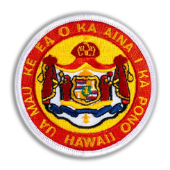 Hawaiian Iron-On Embroidery Applique Patch Coat Of Arms Red, White