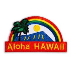 Hawaiian Iron-On Embroidery Applique Patch Aloha Rainbow Red, Blue
