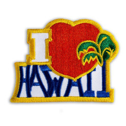 Hawaiian Iron-On Embroidery Applique Patch I Love Red, Blue