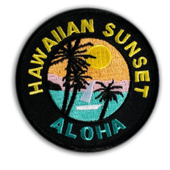 Hawaii Iron-On Embroidery Applique Patch Hawaii Sunset Black, Yellow
