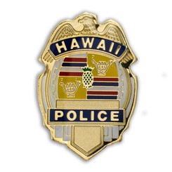 Hawaii Lapel Or Hat Pin Hpd Department Gold, Blue