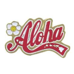 Hawaiian Lapel Or Hat Pin Aloha State Pink, Gold
