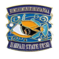 Hawaiian Lapel Or Hat Pin State Fish Humu Blue, Yellow