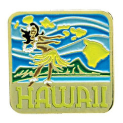 Hawaiian Lapel Or Hat Pin Hula Girl Blue, Green