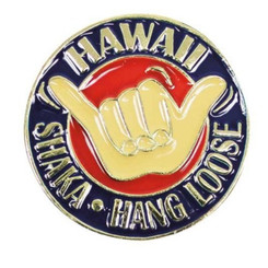 Hawaiian Lapel Or Hat Pin Shaka Red, Blue