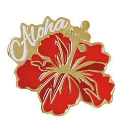 Islander Hawaiian Lapel Or Hat Pin Aloha Hibiscus Red, Gold