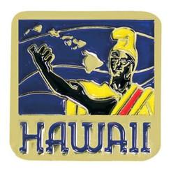 Hawaiian Lapel Or Hat Pin King Kamehameha Blue, Yellow