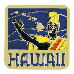 Hawaiian Lapel Or Hat Pin King Kamehameha Blue, Yellow