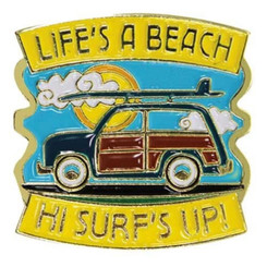 Hawaiian Lapel Or Hat Pin Life's A Beach Blue, Yellow