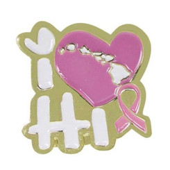 Hawaiian Lapel Or Hat Pin I Love Hawaii Pink, Gold