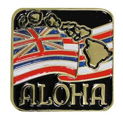 Hawaiian Lapel Or Hat Pin Aloha State Flag Red, White