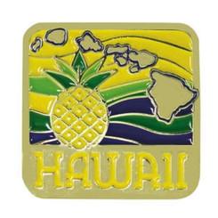 Islander Hawaiian Lapel Or Hat Pin Pineapple Isle Yellow, Green