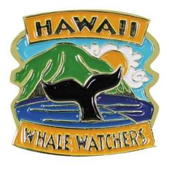 Hawaiian Lapel Or Hat Pin Whale Watchers Blue, Gold